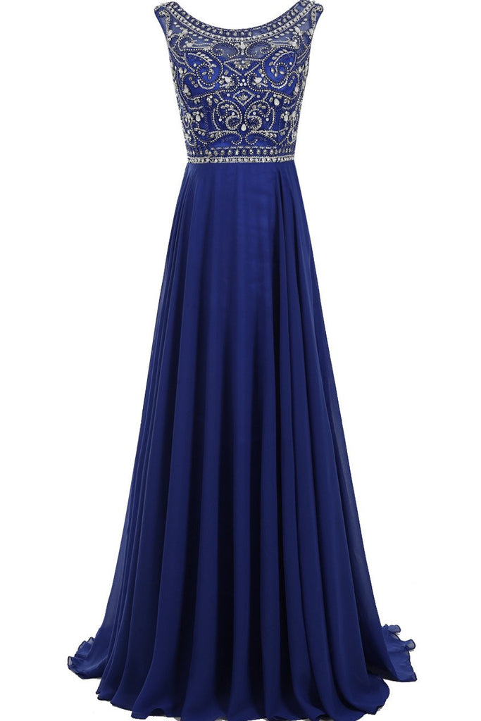 Decent Scoop A-line Royal Blue Beaded Sleeveless Prom Dresses online, MP368