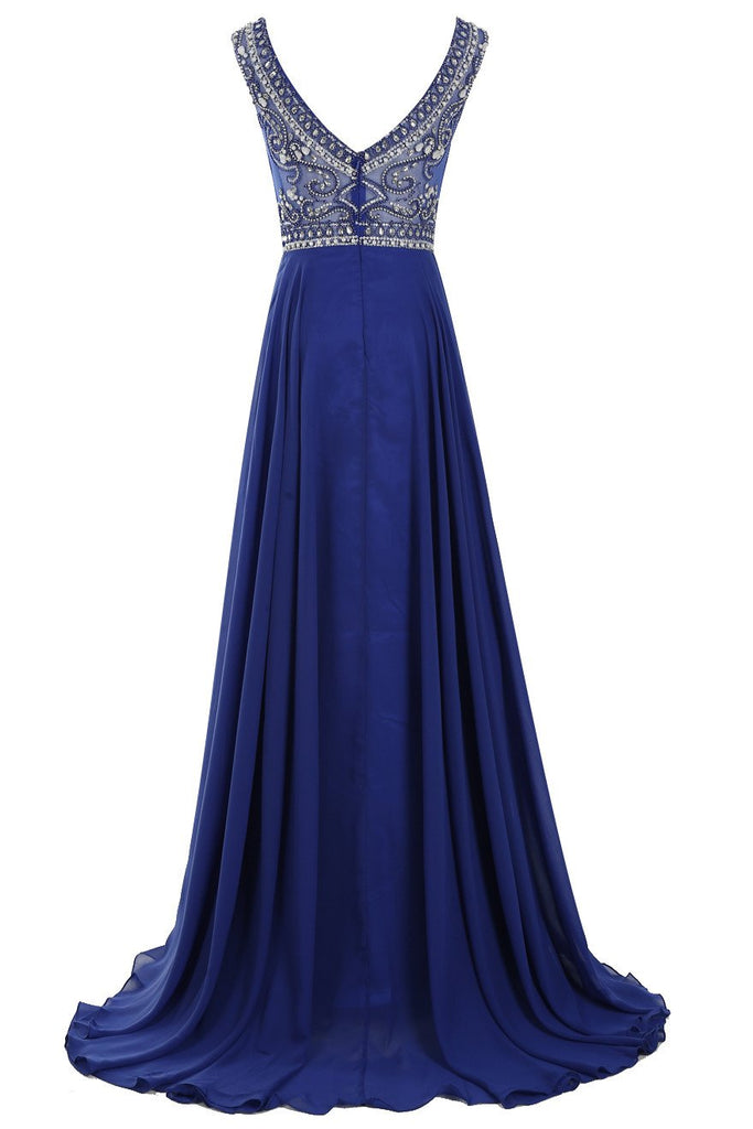 Decent Scoop A-line Royal Blue Beaded Sleeveless Prom Dresses online, MP368|musebridals.com