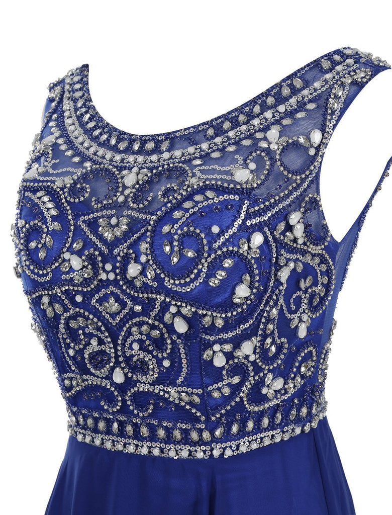 Decent Scoop A-line Royal Blue Beaded Sleeveless Prom Dresses online, MP368 offered by musebridals.com