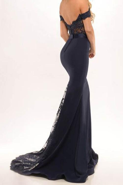 Black Satin Mermaid Off Shoulder Long Prom Dresses, Party Dresses with Lace, MP187 at musebridals.com