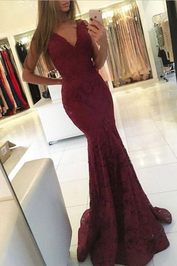 Charming Burgundy Lace V-neck Mermaid Long Prom Dresses For Teens, MP151