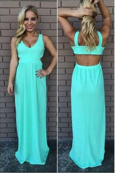 Simple Long Blue Backless Chiffon Floor Length Prom Dress, Evening Dresses, MP285