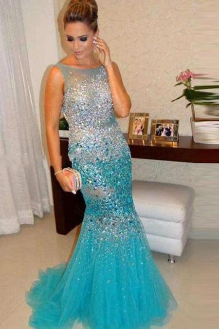 Crystal Beaded Mermaid Straps Long Prom Dresses Evening Dresses, MP295