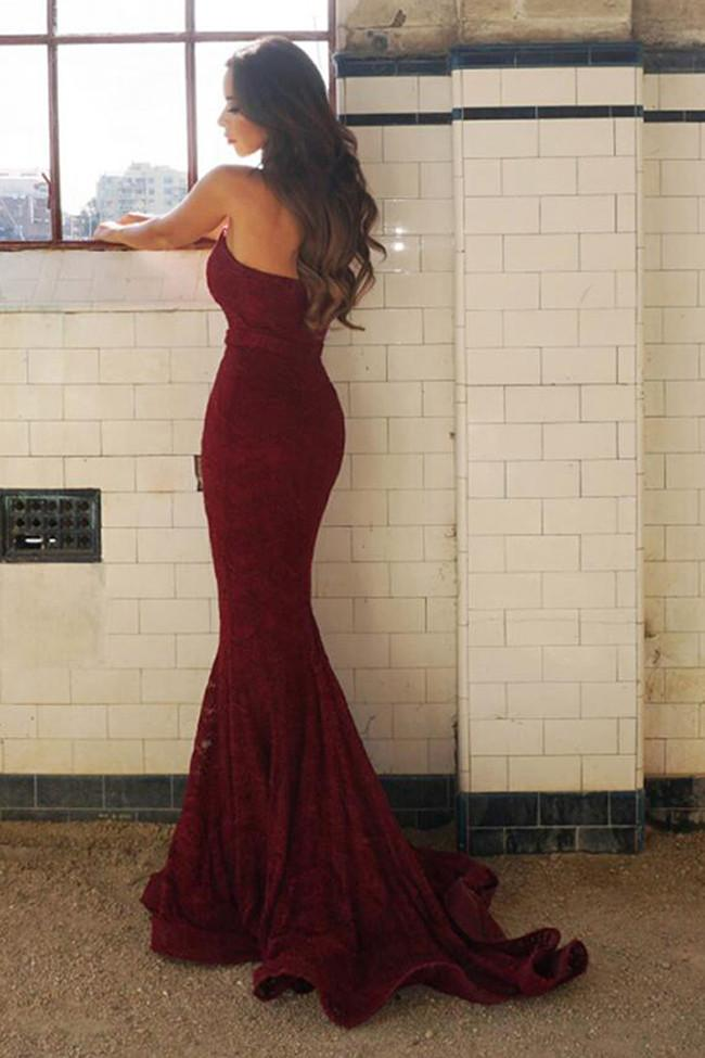 Chic Burgundy Mermaid Lace Sweetheart Long Prom Dress, Party Dress, MP175 at musebridals.com