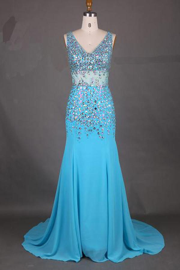 Fabulous Chiffon V-Neck Mermaid Court Train Long Prom Dress With Beading, MP218 at musebridals.com
