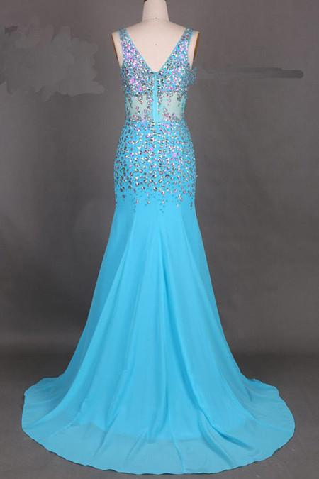 Fabulous Chiffon V-Neck Mermaid Court Train Long Prom Dress With Beading, MP218|musebridals.com