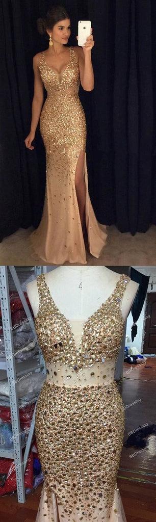 Gold Rhinestone Mermaid See Through Prom Dresses With Beading, MP380