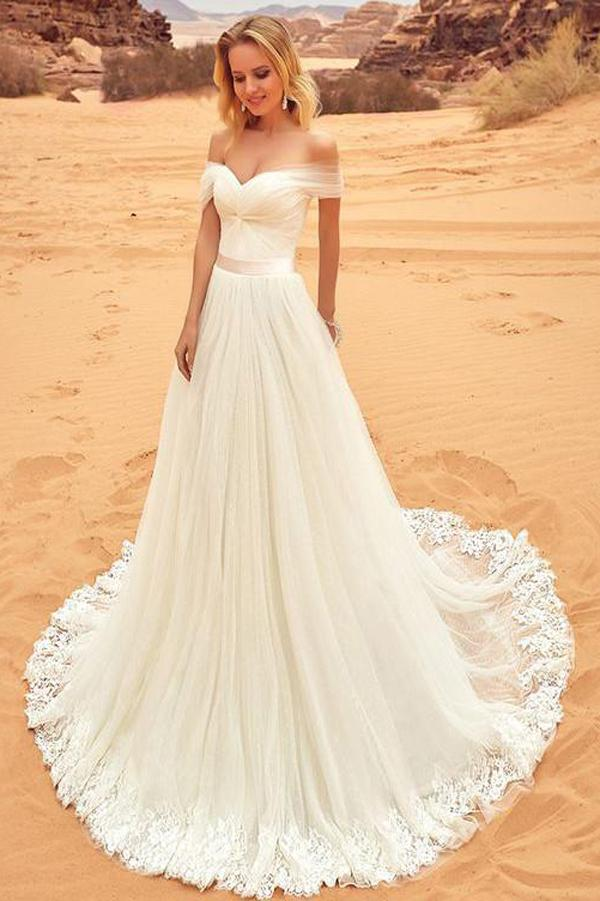 Fabulous White A-line Off Shoulder Tulle Wedding Dresses with Sweep Brush Train, MW235
