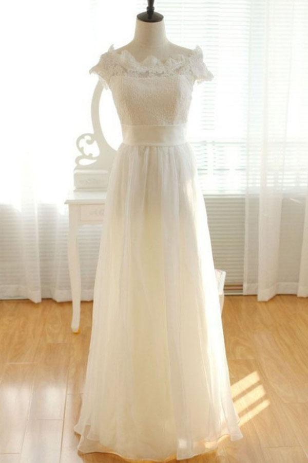 Elegant Ivory Chiffon Lace Long Wedding Dresses, Pretty Bridal Gown, MW137