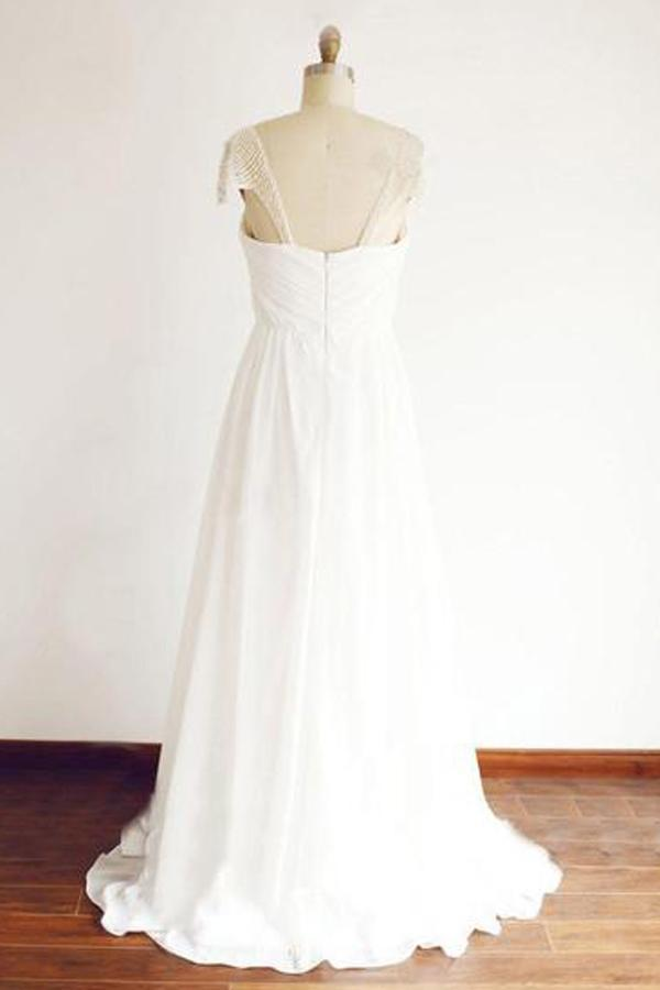 Cheap Chiffon Cap Sleeve Floor Length Beach Wedding Dresses With Beading, MW121 at musebridals.com