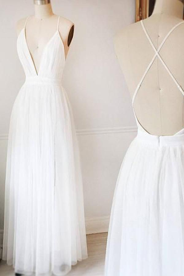 Simple White A-line Tulle V Neck Wedding Dresses, Long Prom Dresses, MW218
