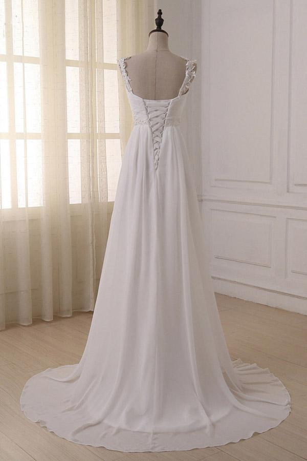 Simple White Chiffon V Neck Straps Wedding Dresses with Sweep Train, MW233