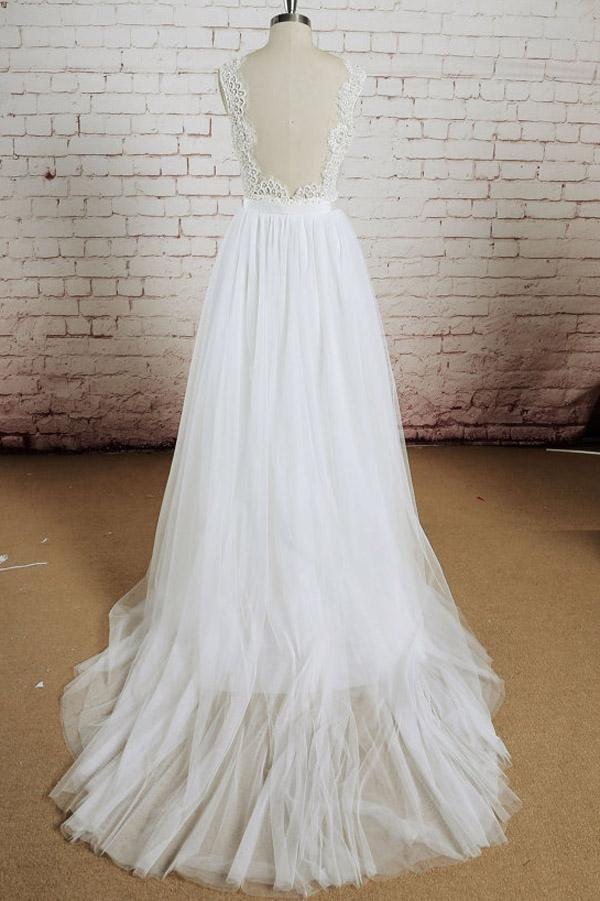 musebridals offer White Tulle Lace Halter V-Neck Long Wedding Dresses with Sweep Train, MW232