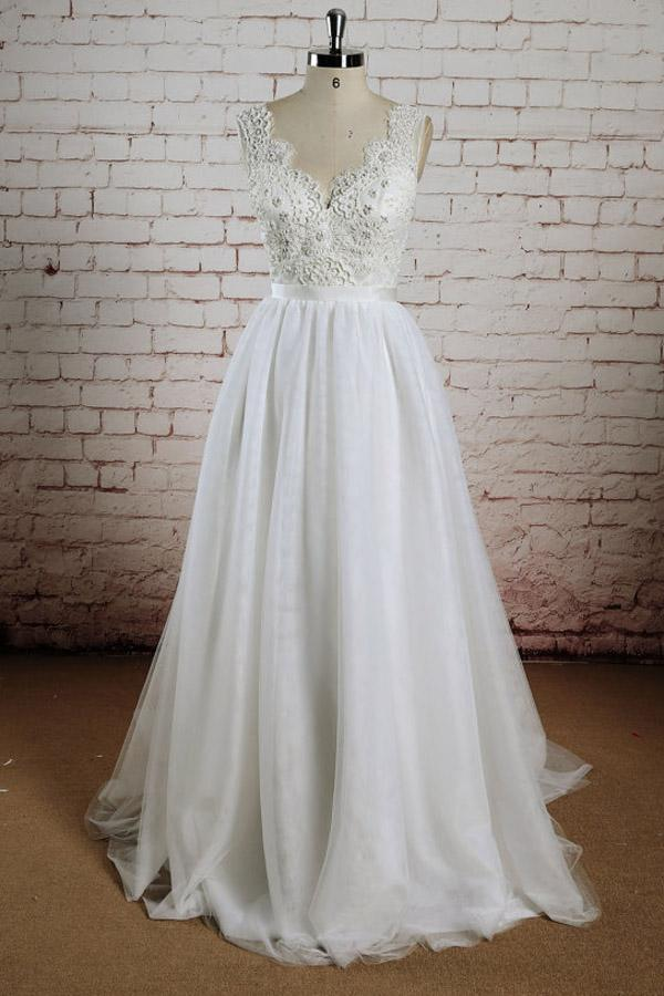 White Tulle Lace Halter V-Neck Long Wedding Dresses with Sweep Train, MW232