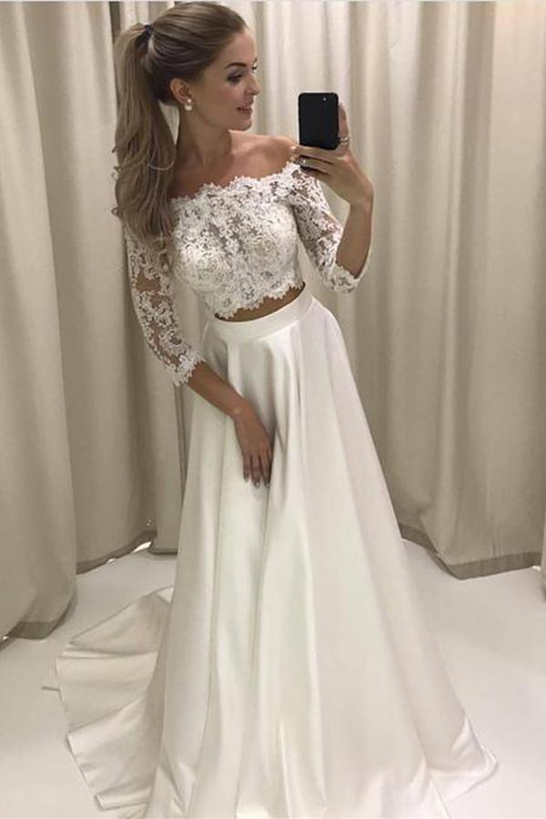 White Two Piece Lace Half Sleeve Boho Style Beach Wedding Dresses, MW230