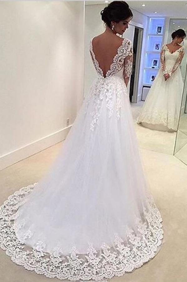 Gorgeous White V-neck Open Back Long Sleeves Lace Appliques Wedding Dress, MW158