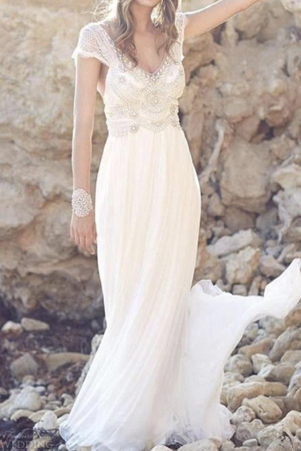 Fabulous Tulle Cap Sleeves Long Beach Wedding Dress with Lace, MW146 at musebridals.com