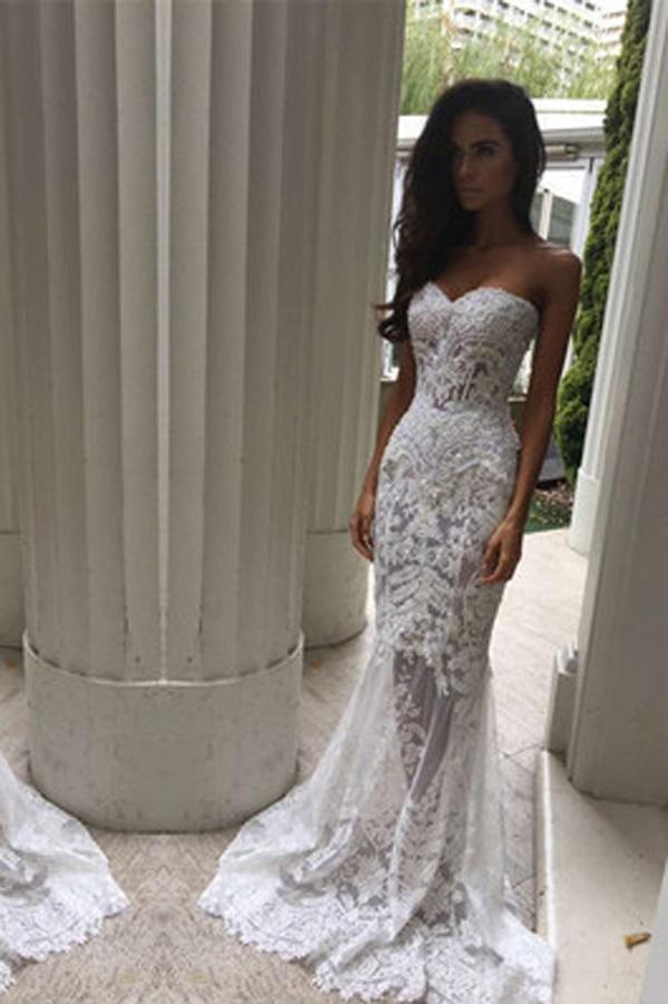 White Off Shoulder Sweetheart Mermaid Formal Long Wedding Dress, MW165