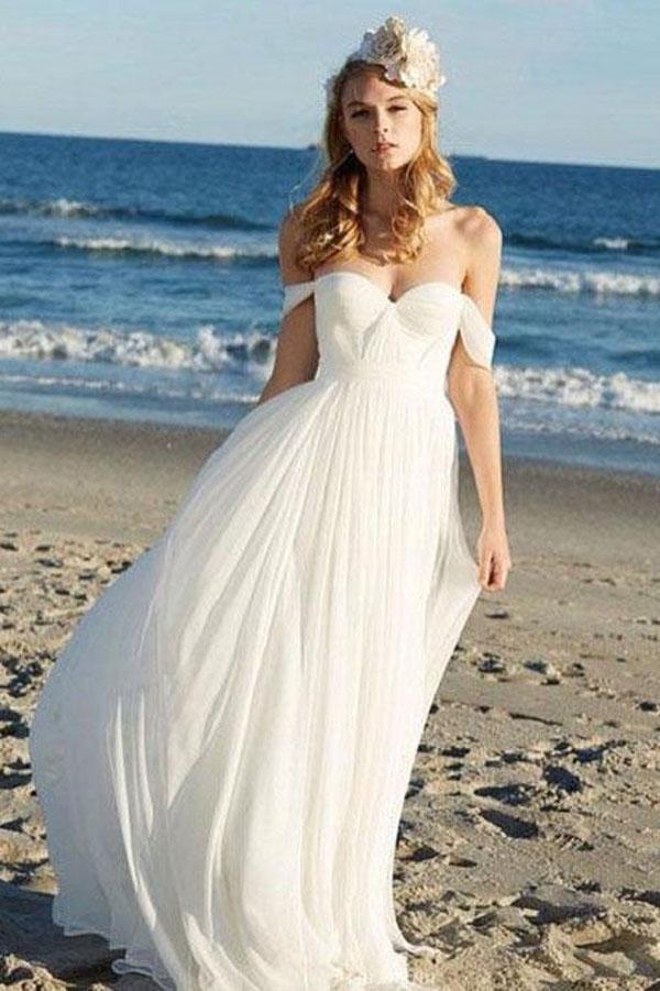 Simple Chiffon Ivory A-line Off Shoulder Summer Beach Wedding Dress, MW171
