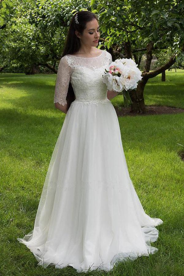 White Lace Bodice Half Sleeves Long Wedding Dresses, Cheap Bridal Gowns, MW160