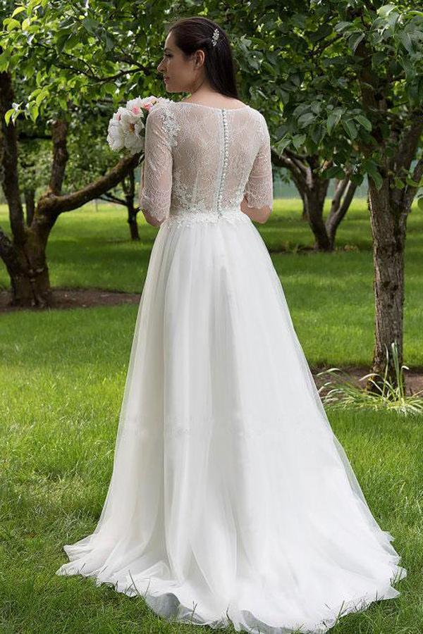 White Lace Bodice Half Sleeves Long Wedding Dresses, Cheap Bridal Gowns, MW160|musebridals.com