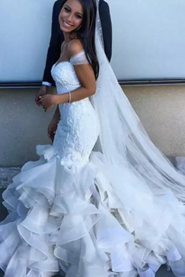 White Mermaid Off Shoulder Sweetheart  Ruffles Wedding Dresses, Bridal Gown, MW157