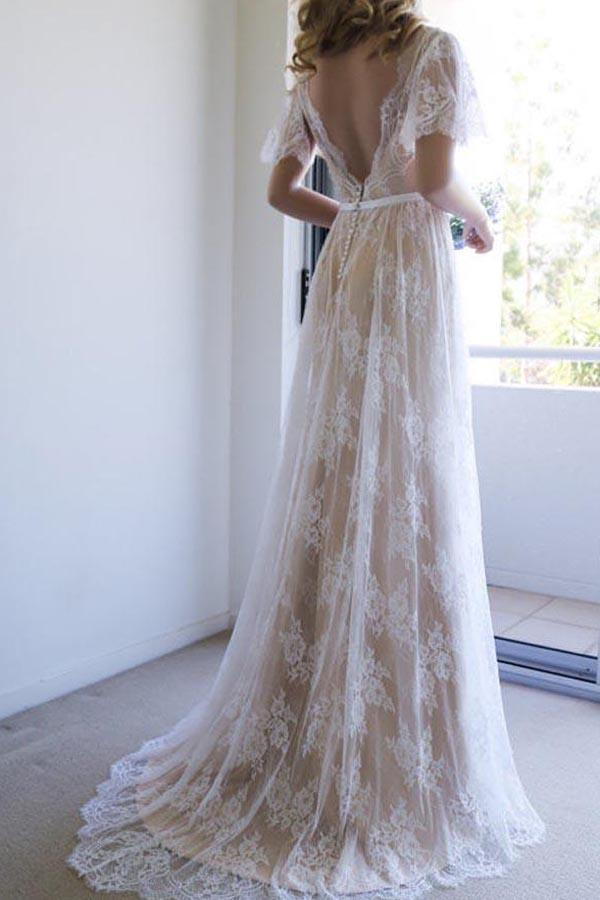 Romantic White Open Back Half Sleeves A-line Lace Long Wedding Dress, MW208