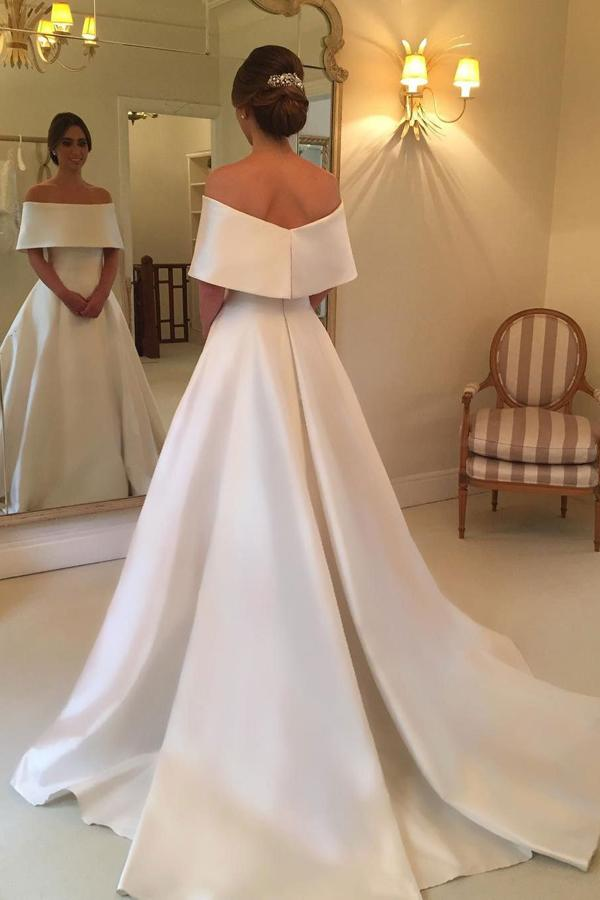 musebridals.com offer A-line Off Shoulder Simple Satin Long Bridal Gown, Hot Wedding Dresses, MW256