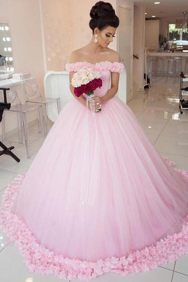 Gorgeous Pink Tulle Off shoulder Ball Gown Wedding Dresses, Quinceanera Dresses, MW205