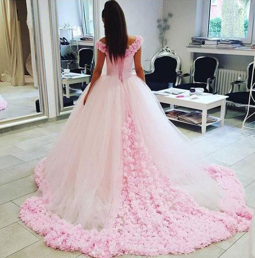 Gorgeous Pink Tulle Off shoulder Ball Gown Wedding Dresses, Quinceanera Dresses, MW205|musebridals.com