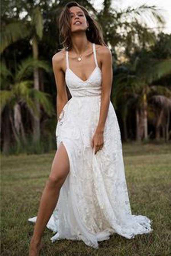 Charming Fashion A-line Lace Spaghetti Straps Long Wedding Dresses, Bridal Gown, MW114