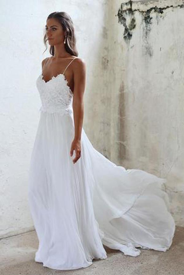 White Spaghetti Straps Open Back Lace Beach Wedding Dresses, MW212