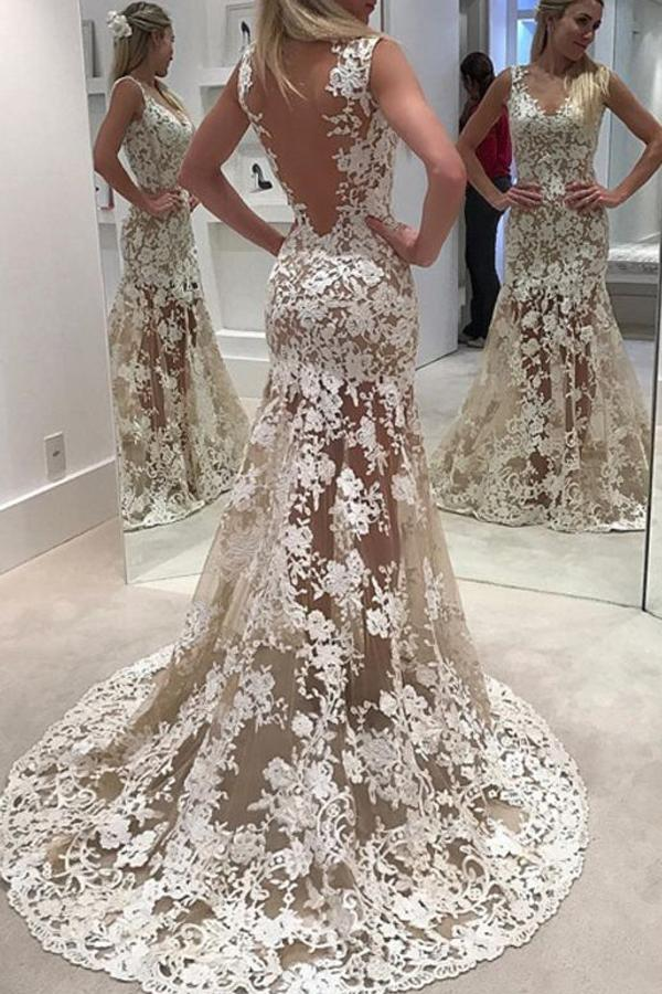 Sheer Lace Up Open Back Sweep Train Wedding Dresses With Appliques, MW201