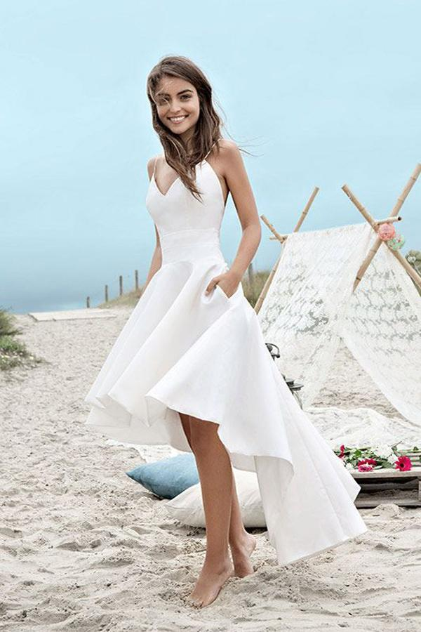 White High Low Sweetheart Spaghetti Straps Simple Beach Wedding Dresses, MW223