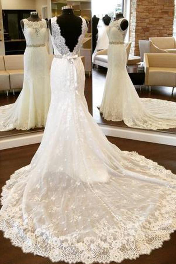 White Lace Open Back Mermaid Vintage Scoop Neckline Wedding Dresses, MW200