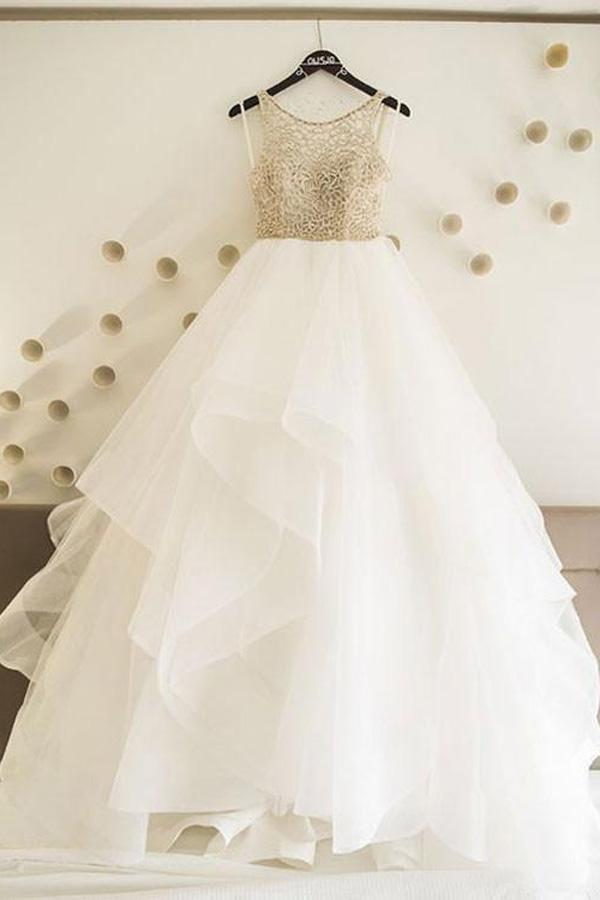 Cheap Tulle White A line Floor Length Wedding Dresses Bridal Gowns, MW258
