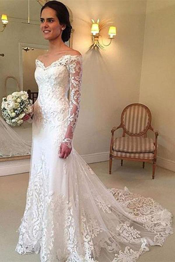 White Long Sleeves Off Shoulder Lace Sweep Train Wedding Dresses, MW236