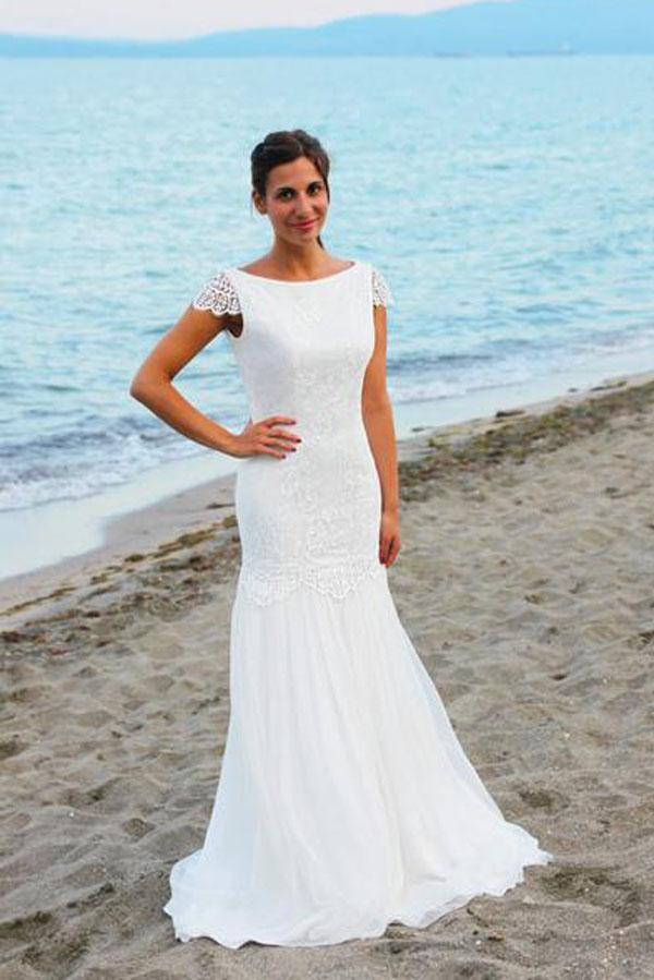 White Cap Sleeves Scoop Neck Open Back Lace Beach Wedding Dresses, MW199
