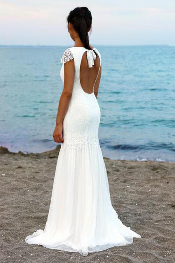 White Cap Sleeves Scoop Neck Open Back Lace Beach Wedding Dresses, MW199|musebridals.com