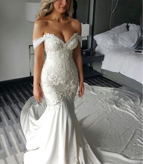 Sweetheart Off Shoulder Mermaid Long Wedding Dress with Sweep Train, MW119 at musebridals.com