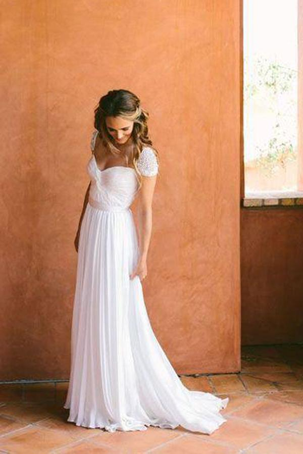 Cheap Chiffon Sweetheart Wedding Dresses with Beading And Short Train, MW123