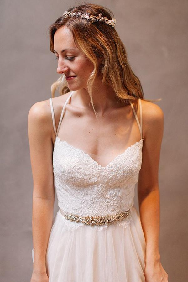 Simple Spaghetti Straps A-Line Tulle Open Back Wedding Dresses online, MW253