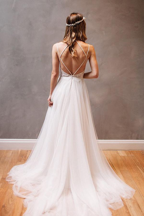 musebridals.com|Simple Spaghetti Straps A-Line Tulle Open Back Wedding Dresses online, MW253