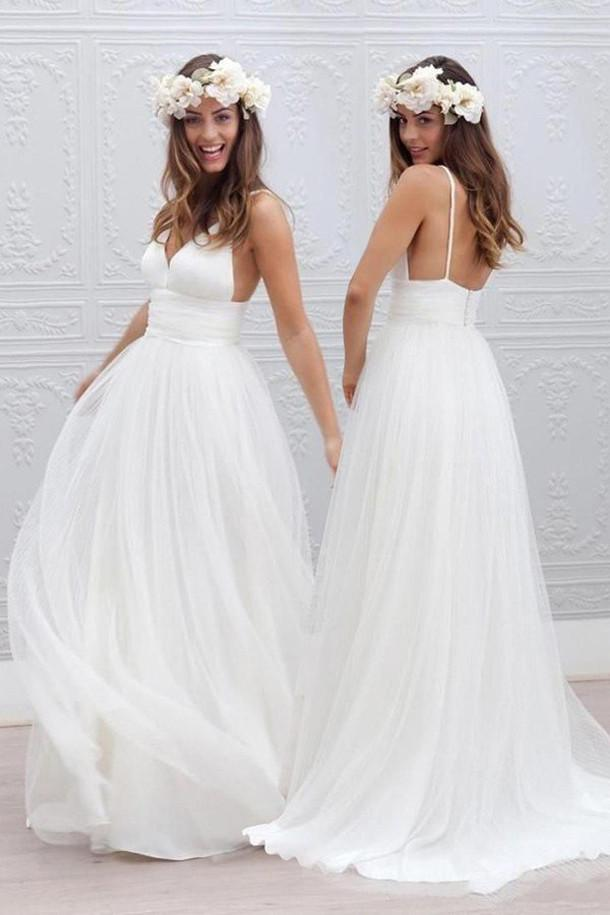 White Tulle V neck Spaghetti Straps Backless Simple Beach Wedding Dresses, MW188