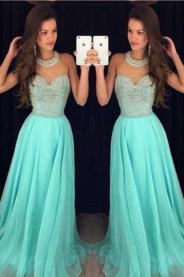 Chiffon Fashion O Neck Long Prom Dresses with Beading, Party Dresses, MP177
