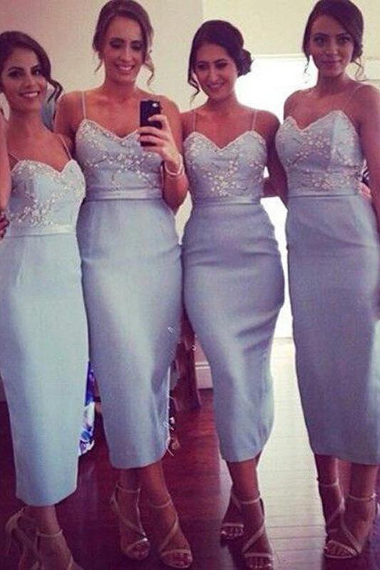 Blue Sheath Tea Length Spaghetti Straps Short Bridesmaid Dress, Wedding Party Dress, MB106
