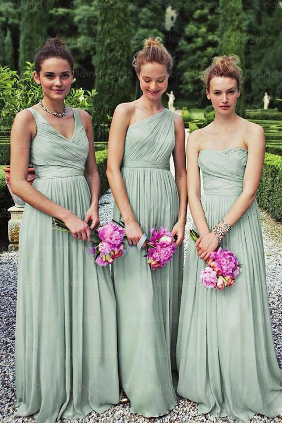 Dusty Green Chiffon Mismatched Long Bridesmaid Dress, Wedding Party Dress, MB133