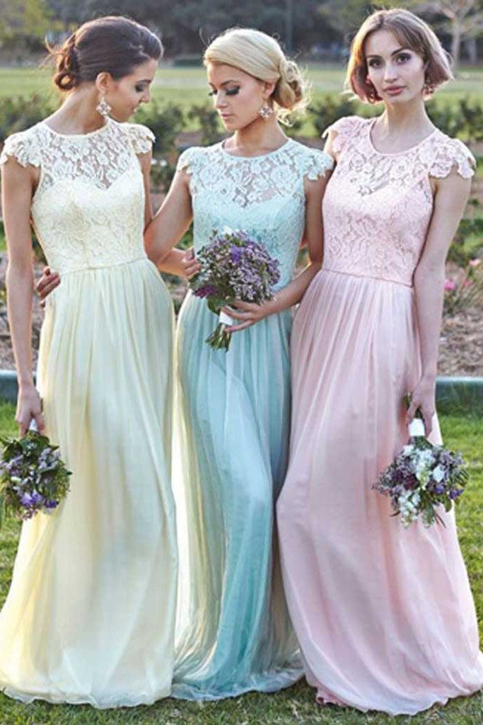 Chiffon Small Round Neck Lace Junior Cap Sleeve Long Bridesmaid Dresses, MB131