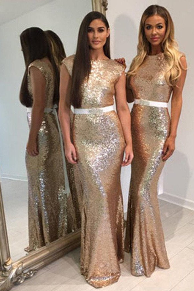 Shinning Long Cheap Wedding Party Dress, Sequin Mermaid Bridesmaid Dresses, MB143