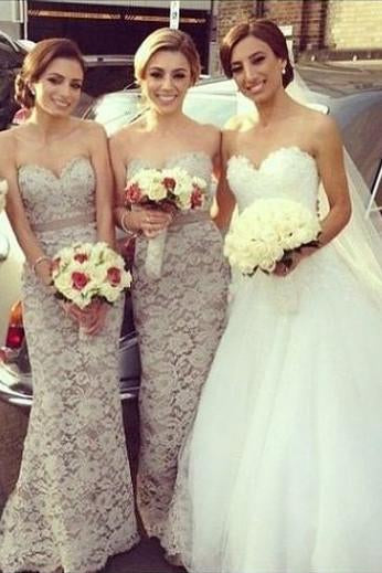 Gray Lace Sweetheart Floor Length Long Bridesmaid Dress, Wedding Party Dresses, MB165